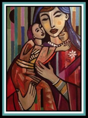 """Child and Mother""  30"" X 40""  acrylic on canvas"